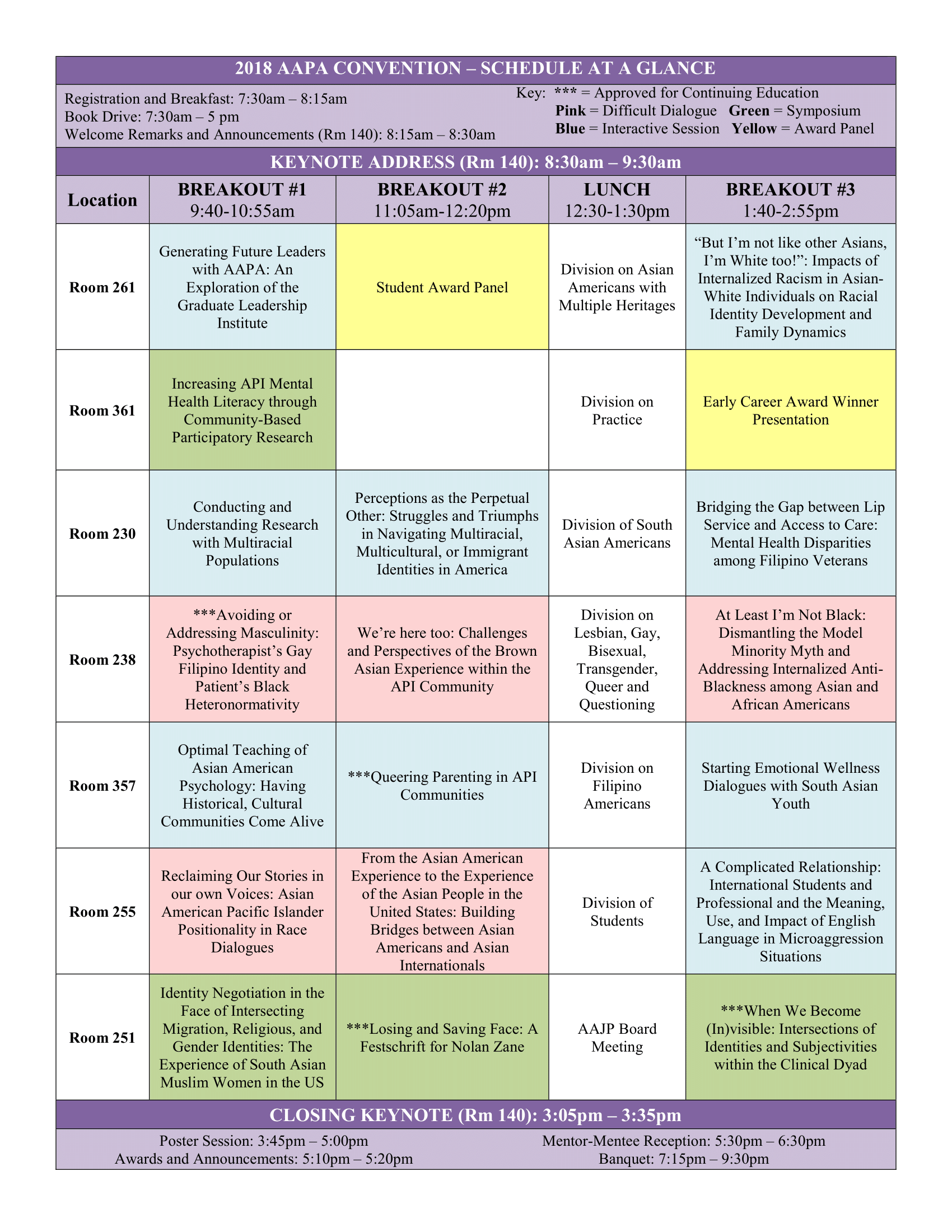 2018 AAPA Convention Schedule at a Glance 8.2.18 1